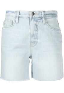 Frame Frayed Edge Denim Cut Off Shorts - Azul