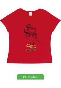 Blusa Plus Size Com Decote Redondo Vermelho