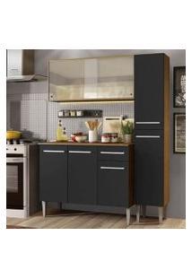 Cozinha Compacta Madesa Emilly Force Com Armário, Balcão E Paneleiro - Rustic/Preto Cor:Rustic/Preto