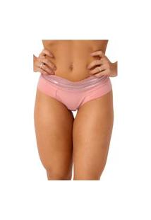 Calcinha Confidente Fio Dental Cintura Alta De Renda Rosa Nude