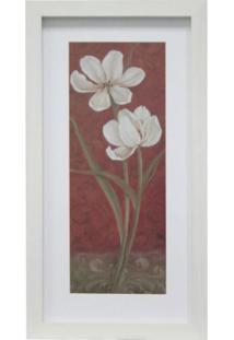Quadro Floral Iv Kapos Branco 34X19Cm