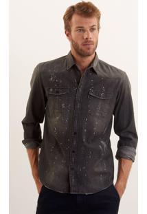 Camisa John John Jeremy Preto Masculina Camisa Jeremy-Jeans Black Medio-P
