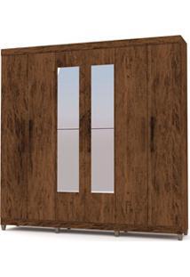 Guarda Roupa Casal Palmas 6 Portas E Espelho Imbuia/Rústico - Vlr Móve