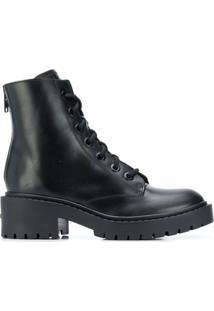 Kenzo Ankle Boot De Couro - Preto