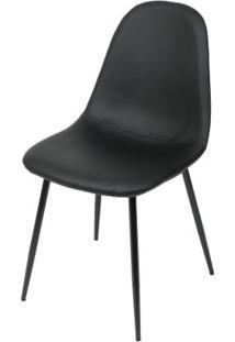 Cadeira Robin Assento Pu Preto Com Base Metal Cor Preta - 46511 - Sun House