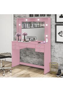 Penteadeira Camarim 5 Gavetas Com Espelho Msm 433 Rosa - Móvel Bento