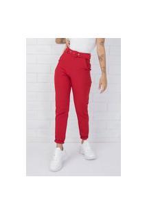 Calça Pkd De Tecido Com Cinto Vermelha