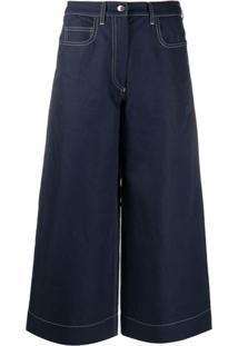 Kenzo Wide Leg Denim Culottes - Azul
