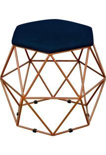 Puff Decorativo Aramado Bronze Six Suede Azul Marinho - Lyam Decor