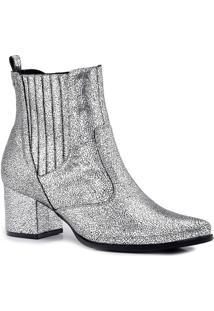 Ankle Boot Em Couro Metalizada - Prateada - Salto: 6Carmen Steffens