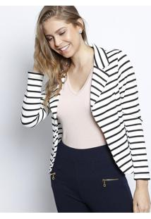 Blazer Com Recortes- Branco & Preto- Nollitanolitta