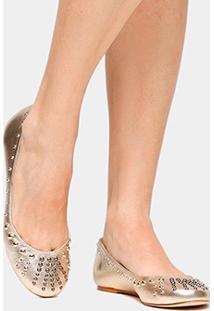 Sapatilha Couro Shoestock Tachas Feminina - Feminino-Dourado