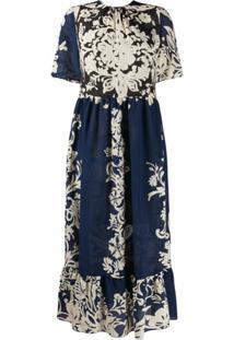 Redvalentino Vestido Midi Com Estampa Floral - Azul