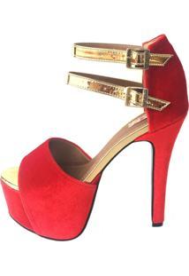 Sandália Blume Calçados Romance Vermelha