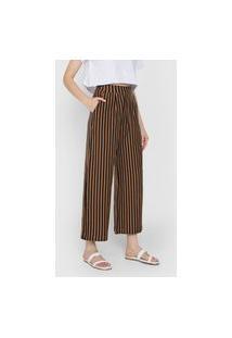 Calça Osklen Pantacourt Thin Stripes Marrom/Preta