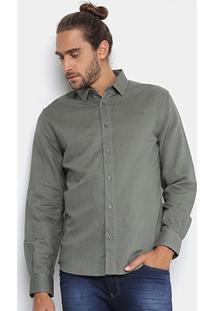 Camisa Colcci Slim Fit Linho Masculina - Masculino-Verde Escuro