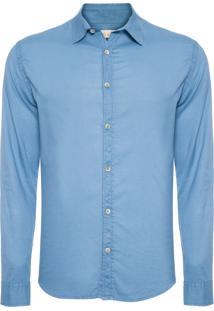 Camisa Masculina Manga Longa Relax - Azul