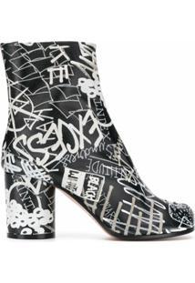 Maison Margiela Ankle Boot Tabi Com Salto 80Mm E Estampa Gráfica - Preto