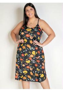 Vestido Floral Alças E Fendas Plus Size