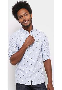 Camisa Lacoste Live Oxford Full Print Masculina - Masculino-Azul