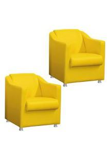 Kit 02 Poltronas Decorativa Para Sala E Escritório Tilla Corino Amarelo - Ds Móveis