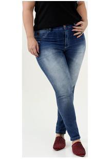 Calça Feminina Cigarrete Puídos Plus Size Uber Jeans
