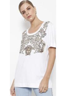 Camiseta Com Bordados & Termocolantes - Branca & Marrom Versace