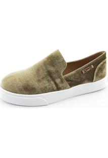 Tênis Slip On Quality Shoes Veludo Feminino - Feminino-Musgo