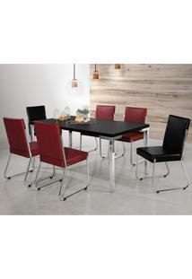 Conjunto Sala De Jantar Mesa Isis 6 Cadeiras Deise Aço Nobre Móveis Vermelho/Preto
