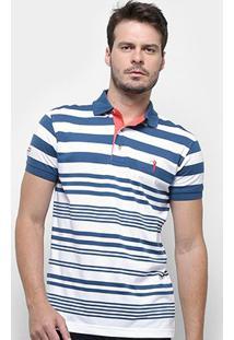 Camisa Polo Aleatory Listrada Masculina - Masculino-Azul+Branco