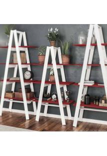 Estante Escada Book 145 X 77 X 33 Branco/Vermelho - Urbe Móveis