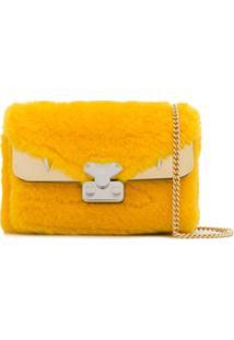 Fendi Bolsa Tiracolo Bag Bugs Em Pele - Amarelo