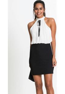 Vestido Bicolor Com Laço Preto E Branco