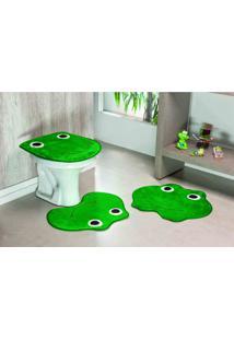 Tapete Jogo Banheiro Formato Sapo Verde Bandeira Guga Tapetes