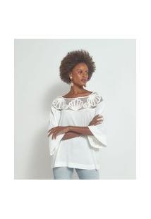 Blusa Bata Com Detalhe Em Tela E Bordado De Conchas | Marfinno | Branco | Pp
