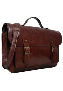 Bolsa Line Store Leather Satchel Grande Couro Marrom Avermelhado. - Kanui