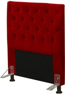 Cabeceira Cama Box Solteiro 90Cm Cristal Suede Vermelho - Js Móveis