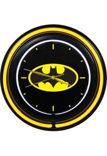 Relógio De Parede Dupla Neon Plástico E Vidro - Dc Comics - Logo Do Batman - Metrópole