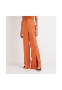 Calça Pantalona Em Cetim Com Bolsos E Fendas Frontais | Blue Steel | Laranja | M
