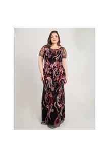 Vestido Almaria Plus Size Pianeta Longo Manga Curta Preto
