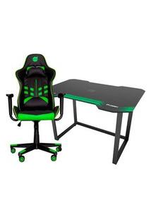 Cadeira Gamer Dazz Prime-X, Black Green - 62000009 + Mesa Gamer Fortrek, Verde - Hmg01