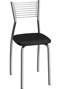 Cadeira De Aço Barcelona C123 Compoarte Aço Cromado/Preto