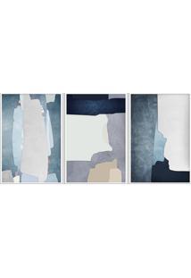 Quadro 40X90Cm Abstrato Hundura Moldura Branca Com Vidro Decorativo