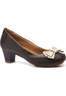 Scarpin Feminino 788 Em Couro Doctor Shoes - Feminino-Café