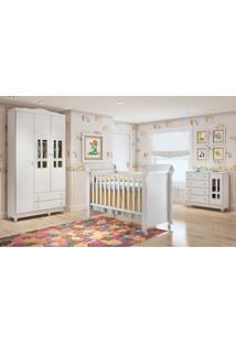 Dormitório Guar. Roupa Ariel 3Pts / Fraldário Ariel E Berço Mirelle Branco