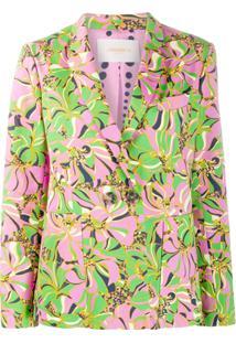 La Doublej Blazer Floral Com Abotoamento Duplo - Rosa