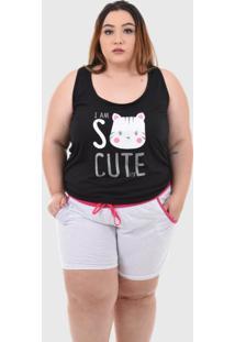 Pijama Baby Doll Plus Size Feminino Shorts Doll Confortável Preto