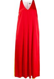 Mulberry Vestido Reto Com Decote Em V Color Block - Vermelho