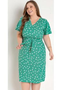 Vestido Poá Verde Transpassado Plus Size