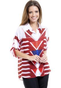 Camisa 101 Resort Wear Mangas 3/4 Com Reguladores Estampada Vermelha